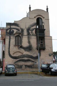 Dalí on a building - Lima, Peru