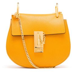 CHLOÉ Grained Leather Drew Bag ($1,245) ❤ liked on Polyvore featuring bags, handbags, shoulder bags, сумки, chloe handbags, orange purse, full grain leather handbags, full grain leather purse and clasp purse