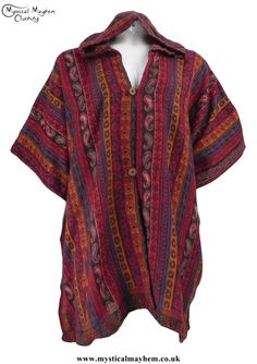 Open Front Acrylic Hippy Festival Poncho Top Red and Orange d39dddf2eff1