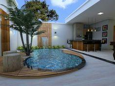 Backyard Pool Designs, Small Backyard Pools, Swimming Pools Backyard, Swimming Pool Designs, Villa Design, Home Garden Design, Patio Design, Outdoor Garden Rooms, Pool Landscape Design