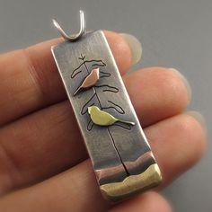 Love Birds Mixed Metal Pendant