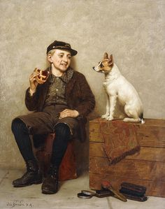 I'll Share With You, (oil on canvas) by Brown, John George (1831-1913)