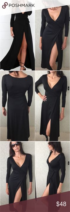 Black Maxi Dress S,M This is a nice thick 35% cotton and 65% Polyester black maxi dress.  Plunging neckline. Long sleeve and open front.  This is a gorgeous dress on!  Nice thick material! Personal note bin smcx hanging.  True to size.  I only have one of each size! Dresses Maxi