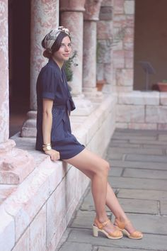Emilee Anne at The Cloisters wearing SEA nautical romper, Swedish Hasbeens clogs and Hermes scarf