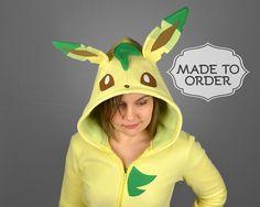 Leafeon Pokemon Costume Hoodie Made to Order by CholyKnight Pokemon Costumes, Pokemon Bulbasaur, Large Purses, Popular Videos, Cute Faces, Unisex Fashion, Deconstruction, Fleece Hoodie, Halloween Costumes