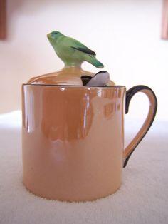Vintage NORITAKE M Green Mark Lusterware Mustard Pot  with Bird - Hand Painted