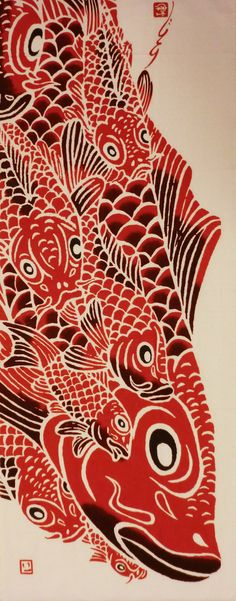 Japanese tenugui cotton fabric red carps by japanmomijidesigns