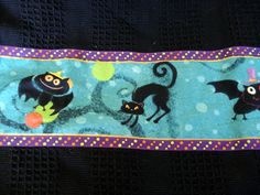 Halloween Kitchen Towels, OOAK, Black Cotton Towels, Bats, Cats, Witches, Teal, Purple. $10.99, via Etsy.