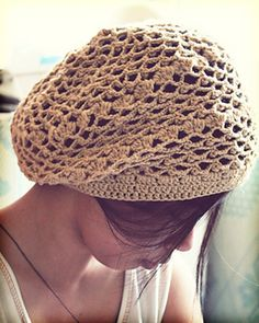 This beret/slouchie hat is adapted from a Japanese book's cloche hat pattern.