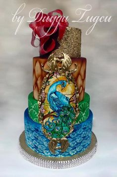 Love Wedding Cakes Peacock Wedding Cake - Cake by Duygu Tugcu Beautiful Cake Designs, Beautiful Wedding Cakes, Gorgeous Cakes, Pretty Cakes, Cute Cakes, Amazing Cakes, Peacock Cake, Peacock Wedding Cake, Peacock Decor