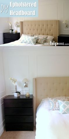Money Hip Mamas: DIY Upholstered Headboard with Nailhead Detailed Arms - love the side arm idea. Diy Fabric Headboard, Headboards For Beds, Headboard Ideas, Upholstered Headboards, Diy Makeup Organizer, Cute Diy Projects, Home Projects, Ikea, Ideias Diy