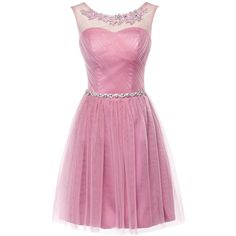 Olidress Women's Short Sleeveless Prom Dress Homecoming Dress (€69) ❤ liked on Polyvore featuring dresses, prom dresses, short cocktail dresses, sleeveless cocktail dress, short dresses and pink dress