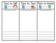 Student response sheet to illustrate and write about reading connections. // Search terms: Text to self, text to text, text to world Kindergarten Reading, Teaching Reading, Teaching Ideas, Guided Reading, Reading Binder, Close Reading, Reading Workshop, Reading Skills, Text To Self Connection