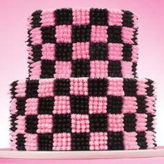 Squares on Round 2-Tier Cake