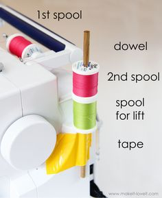 Using the Double Needle, WITHOUT the 2nd spool holderYou can also wind a bobbin and use the bobbin as the second spool of thread. Just put it on the little thing on top of your machine that you put it on to wind it. At least, that's what my high school sewing teacher had me do.