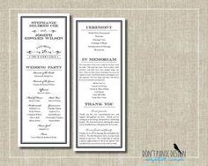 Printable Wedding Program Tall Traditional Elegant - Black and White Program - Custom Color