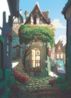 Kai Fine Art is an art website, shows painting and illustration works all over the world. Fantasy Landscape, Landscape Art, Landscape Design, Casa Anime, Posca Art, 8bit Art, Fantasy Kunst, Anime Fantasy, Environment Concept Art