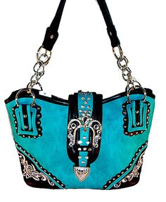Concealed Carry CCW Handbag / Embroidery & Rhinestone Buckle - Turquoise $59.99 + Free Shipping! wantedwardrobe.net wantedwardrobe.com #shop #CCW #fashion #handbags #wantedwardrobe