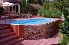 cheaper alternative to inground pool. Outdoor , Get The Best Above Ground Pool Deck Ideas Pictures; Pick One : Above Ground Pool Deck Ideas Plans Best Above Ground Pool, In Ground Pools, Square Above Ground Pool, Above Ground Swimming Pools, Oberirdischer Pool, Pool Fun, Piscine Diy, Deck Framing, Deck Pictures