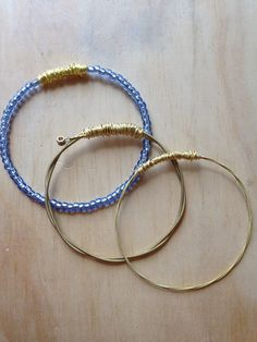 Set of 3 Eco Friendly Guitar string bangle, guitar string bracelet, bracelet,  wire wrapped bracelet, guitar string, beading. on Etsy, $32.00