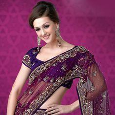 Dark Pink Net Lehenga Style Saree with Blouse