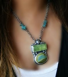 Reserved - Sunshine Through the Leaves - Prehnite and Imperial Jasper Sterling Silver Necklace