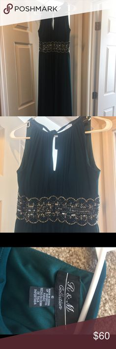 R&M Collection Long Dress Green with a tie at the back of the neck to secure (never worn) R & M Collection Dresses Maxi