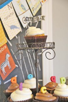 ABC baby shower ideas. alphabet cupcake toppers