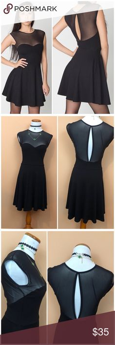 ca8062a07f6a84 Spotted while shopping on Poshmark  American Apparel Black Mesh Detail Skater  Dress!  poshmark