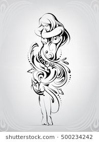 d41b320d7 Silhouette of girl in a dress from a wave Girl Dancing, Cute Tattoos, Tatoos