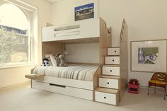 Casa Kids designs and builds the perfect custom children's furniture for your new room. Contact us to learn more. Childrens Bunk Beds, Bunk Beds For Girls Room, Adult Bunk Beds, Bunk Beds With Stairs, Kids Bunk Beds, Kids Bedroom, Bed Rooms, Guest Rooms, Murphy-bett Ikea