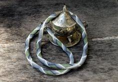 Wonderful retro beaded rope necklace, handmade jewelry, geometric pattern, white, green, gray, black.