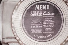 Circle Menu, industrical chic inspired. Design by Patti Murphy. Photo by Maggie Conley Photography