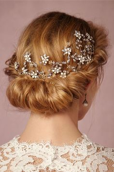 Bridal Hair Accessories with crystal and white stones - low crown. from BHLDN - KnotsVilla