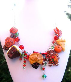 Gingerbread Christmas Necklace , Gingerbread Man, Christmas Jewellery, Polymer Clay Jewelry,  Miniature Food Necklace, Kawaii Necklace. £50.00, via Etsy.