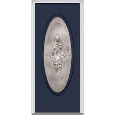 Milliken Millwork 33.5 in. x 81.75 in. Heirloom Master Decorative Glass Full Oval Lite Painted Fiberglass Smooth Exterior Door, Naval