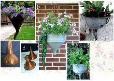 как да се направи градина контейнерите от стари фунии, контейнер градинарство, занаяти, градинарство, Repurposing Upcycling