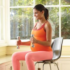 Sit on the edge of a sturdy chair with your back straight, feet on the floor, arms at your sides. Hold a 5- to 8-pound weight in each hand, palms facing your body. Bend your elbows so your arms form a 90-degree angle [shown].Then, keeping your elbows bent, lift the weights to shoulder height. Lower your arms to your sides, then straighten to return to starting position. Repeat for reps.Strengthens: Biceps and shoulders.