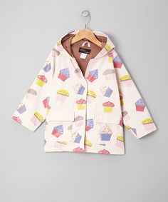 No need to shudder at stormy weather, because this raincoat's got kids covered. Made with water-resistant material, it has a soft cotton lining, easy snap closures and two flap pockets. Add in a hood for a look that's sweet in a drizzle or downpour.100% polyurethaneSpot cleanImported