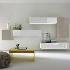 Bart Entertainment Unit for TVs up to Urban Designs Finish: White/Beige Floating Nightstand, Floating Shelves, Cool Furniture, Painted Furniture, Buy Tv Stand, Dcor Design, White Beige, Entertainment Center, Decoration