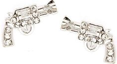 """Trendy Small 1/2"""" Silver Plated Embellished with Clear Crystals Handgun/Gun Pistol Stud Earrings"""