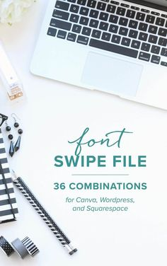 You love to choose fonts – but sometimes you spend HOURS trying to find the right combination to use on your website, or in your welcome packet. Grab this quick swipe file of 36 different combinations – just plug and play! All of the font combinations in this swipe file are available in Canva, and almost all are available in Squarespace and Wordpress (with a Google Font plugin).