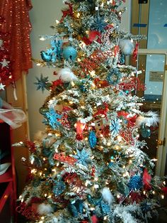 red white blue display tree teal christmas tree xmas trees retro christmas