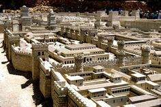 Herod's palace in the foreground.  The Antonia Fortress (four towered structure) in the upper left hand corner.  These are the two possible sites of the Savior's trial before Pilate and Herod Antipas.  (Model, Holy Land Hotel, Jerusalem)