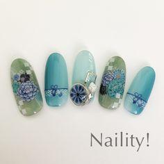 Japanese Nails, Japanese Art, New Year's Nails, Hair And Nails, Korea Nail, New Years Nail Art, Bridal Nails, Cute Nail Designs, Flower Nails