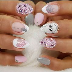 Sweet, cute, and spooky nails! Pink and white design with clear and pink pixie beads and hand painted spooky goast cartoon! Beautiful nails done by @home_of_deva Ugly Duckling Exclusive Ambassador Find us on Facebook- Ugly Duckling Nails #uglyducklingnails #nails #nail #instanails #nailsofinstagram #nailblogger #nailswag #nailpro #nailpromote #nailicious #nailinspo #gelpolis
