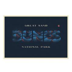Great Sand Dunes National Park, by David Rygiol for TypeHike Collage Illustration, Illustrations, Communication Art, Parking Design, Work Inspiration, Lettering Design, Business Design, Artwork Prints, National Parks