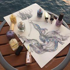 Pencil & Nail Polish on paper mermaid art