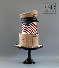 Navy Khaki Ball Cake  by Lori Mahoney (Lori's Custom Cakes)
