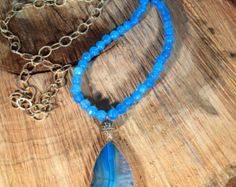 Blue beaded Necklace by TheEmilyJaneCo on Etsy